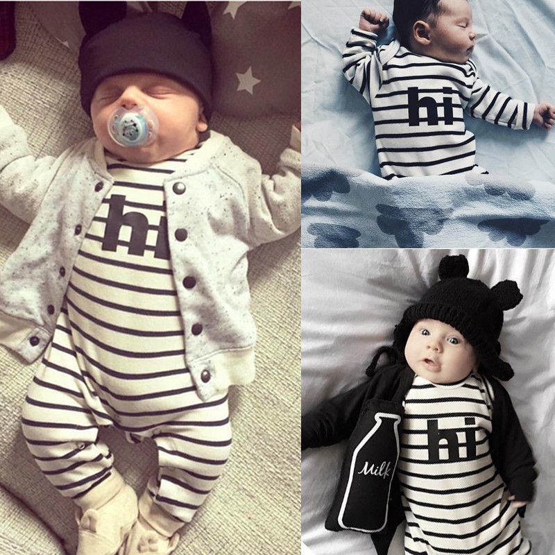 2016 Newborn Baby Boys Girls Clothes 0-24M Infant Bebes Long Sleeve Striped Romper Playsuit One Pieces Outfit Clothing puseky 2017 infant romper baby boys girls jumpsuit newborn bebe clothing hooded toddler baby clothes cute panda romper costumes