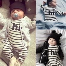 2016 Newborn Baby Boys Girls Clothes 0-24M Infant Bebes Long Sleeve Striped Romper Playsuit One Pieces Outfit Clothing
