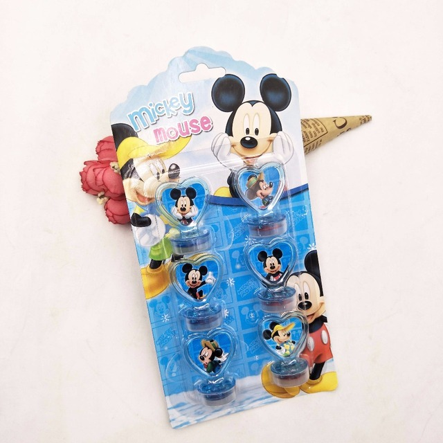 6pcs Set Birthday Party Supplies Mickey Mouse Rubber Stamp Funny For Kids Decor