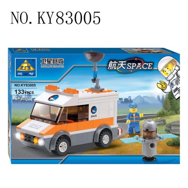 Kazi Building Blocks Satellite Recovery Car Construction Toys car & driver & Satellite Debris High Quality  Plastic Holiday Gift