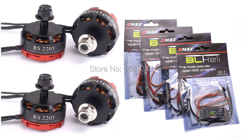 RS2205 2300KV motor + Emax 20A BL / DYS XS20A XS30A BLHeli_S XS 30A ESC Electronic Speed Controller for ZMR250 QAV-R Quadcopter