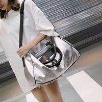 Модная сумка из искусственной кожи, большая женская сумка через плечо для женщин, серебристая женская сумка-мессенджер, ручная женская сумк...