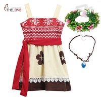 MUABABY Girls Moana Summer Sundress Princess Kids Advanture Cosplay Costume Girl Casual Cotton Dress Up Outfit