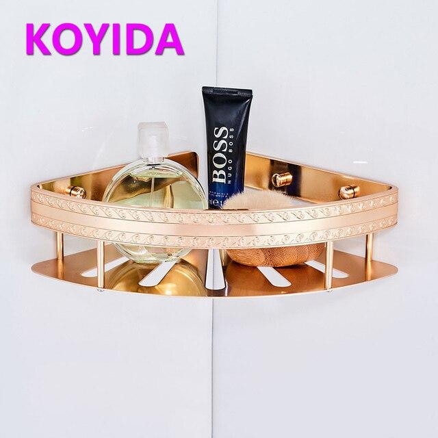 KOYIDA Aluminum Shower Caddy Single Tier Bathroom Shelves Shampoo Holder  Decorative Corner Shelf Bath Accessories Etagere