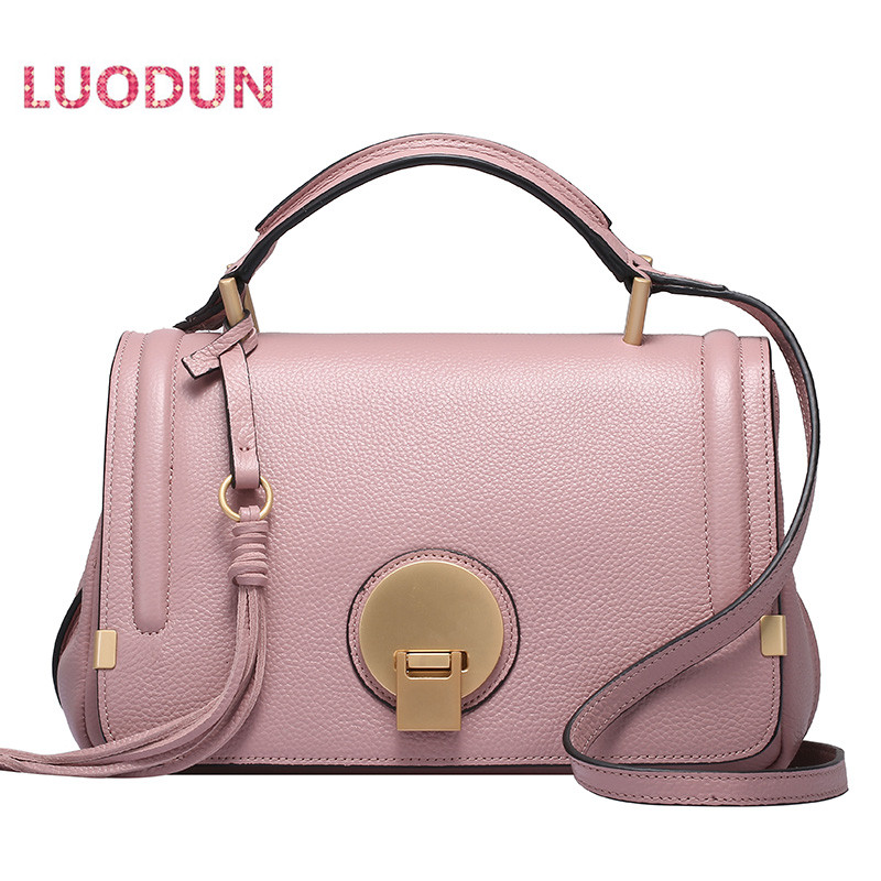 LUODUN fashion front new spring and summer leather handbags first layer leather bag camera bag shoulder portable Messenger bag цена