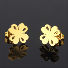 Hollow lucky four-leaf clover earrings female Fashion jewelry flower gold stainless steel for women