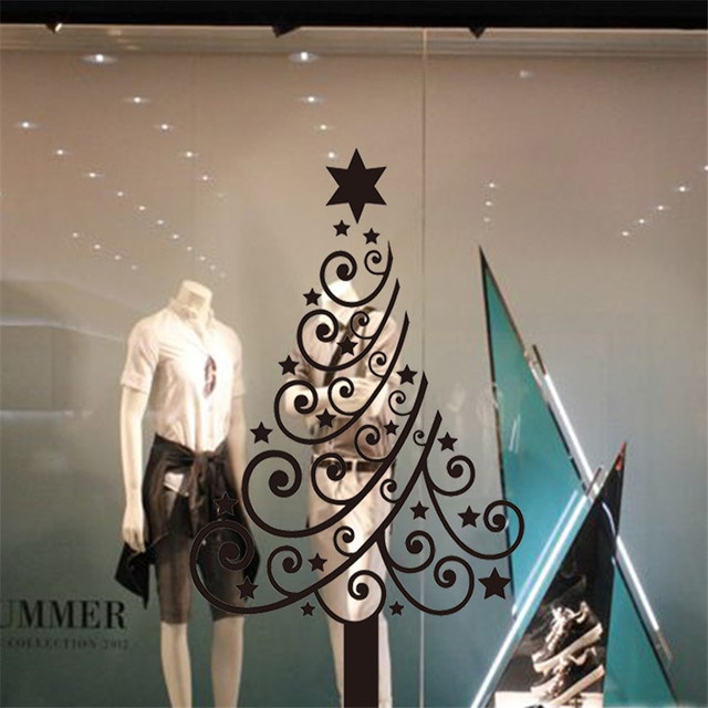 Christmas Decoration Store Showcase Glass Sticker ChristmasTree Snowflake Design Removable Carved Decals Window Wall Stickers