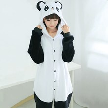 Cartoon Animal Stitch Cat Panda Cow Bear Pikachu Totoro Pajamas for Women Kigurumi Winter Adult Women Animal Hooded Onesie