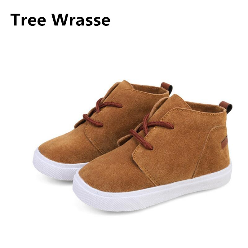 Girls Martin Boots Spring Autumn Children Snow Boots Pure Color Single Sports Shoes Kids Boys Casual For Brown Pink Gray