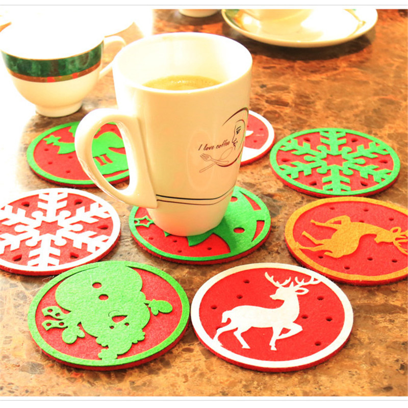 Zilue 10pcs/Lot Christmas Water Glass Mat Restaurant Dinning Table Insulation Pad Coffee Coaster Christmas Mat Decorations