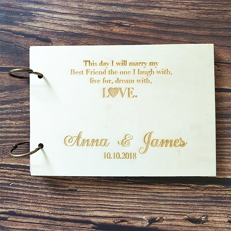 Wooden Wedding Album: Custom Personalized Wood Engraved Sign In Book Guest Book