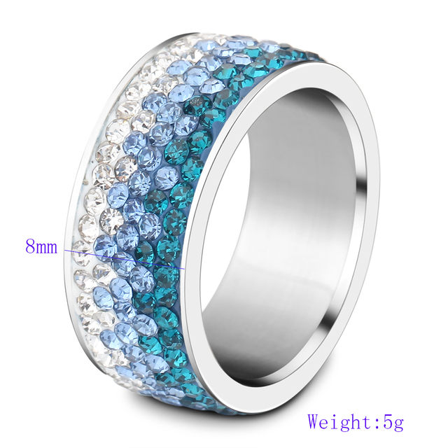 6/7/8/9# different Color Line Crystal Fashion Jewelry Ring Wholesale Fashion Stainless Steel Ring for women 1