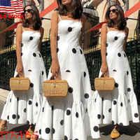 2019 Women's Girls White Spaghetti Strap Sexy Boho Long Maxi Dot Dress High Waist Ladies Club Wear Evening Party Beach Sundress