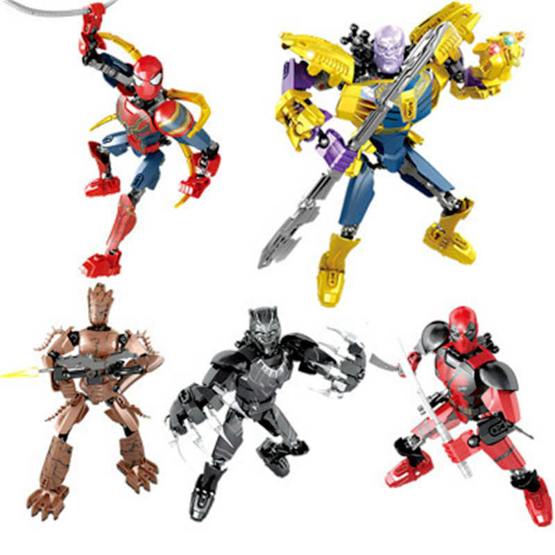 Building Block Toy Deadpool Marvel Avengers Assemble Thanos Pantera Negra Groot Lepined Técnica Do Homem Aranha Boneca de Brinquedo de Presente para As Crianças