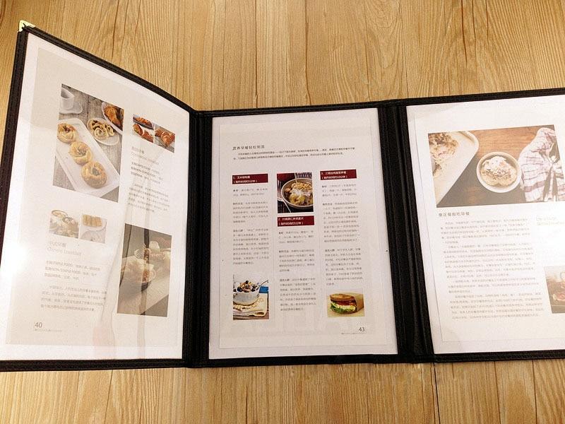 4pcs Lots 3 Sheets A4  Black PU Leather + PVC Plastic Menu Book Cover, 3-folded Folder For Meeting Restaurant Hotel