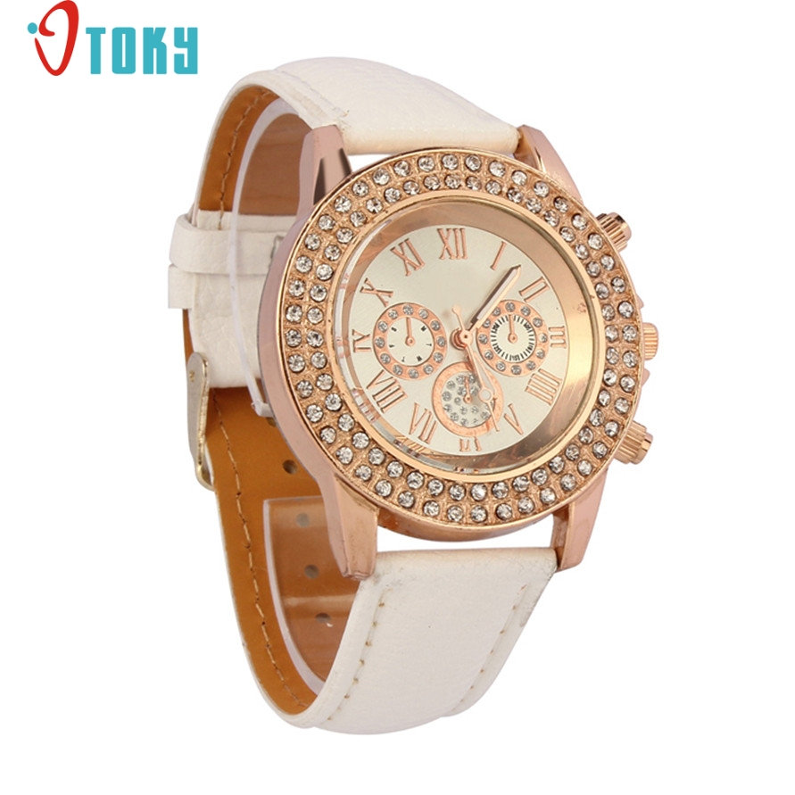 Watches OTOKY Willby Women Ladies Crystal Dial Quartz Analog Pink Leather Bracelet Wrist Watch 170106 Drop Shipping hot unique women watches crystal leather bracelet quartz wrist watch mujer relojes horloge femmes relogio drop shipping f25