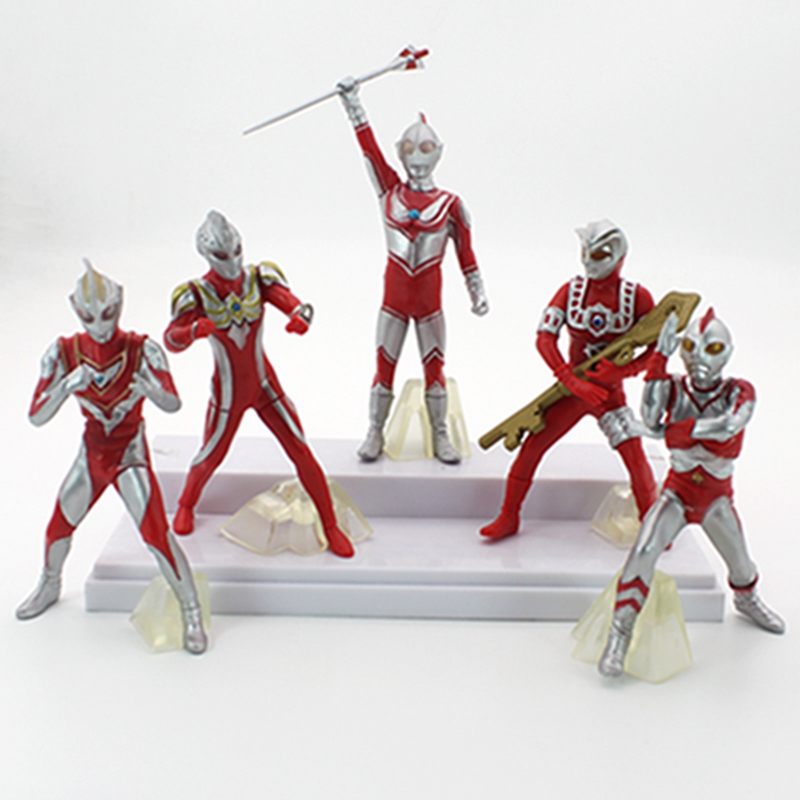 5pcs/lot Anime Ultraman Edition PVC Action Figure Collectible Model Toy free shipping 5pcs cool 5 ultraman tiga 5 moster the 11th pvc action figure collection model toy gift 5pcs per set