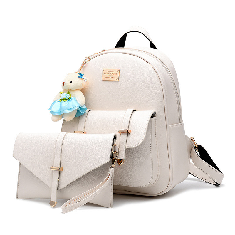 Fashion Composite Bag Pu Leather Backpack Women Cute Bag School Backpacks For Teenage Girls Black Bags