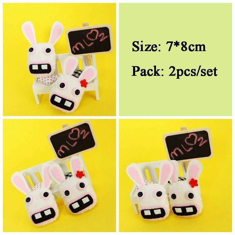 Estilo casal 2 pçs/set Little Rabbit Sentiu DIY Ornamento Pingente de Chave & Mochila Sentiu DIY Pacote de Material de Costura Para Crianças boneca de Brinquedo
