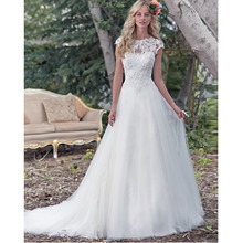 Custom Made Novia White/Ivory Organza Applique Beading Short Sleeve Lace Wedding Dress Vestido De Casamento