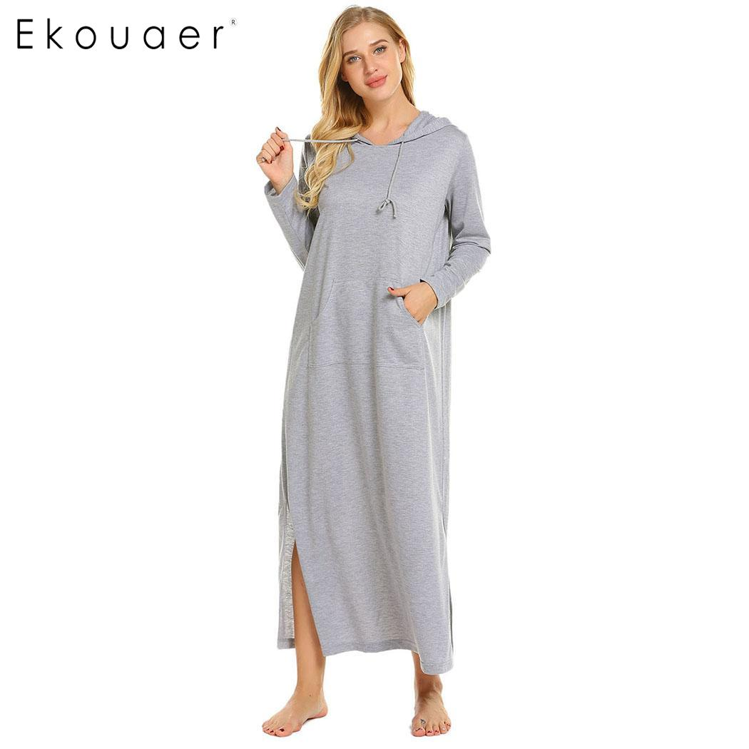 Ekouaer Women Nightdress Long Sleep Dress Casual Solid Split Hem O-Neck Long Sleeve Hooded   Nightgown     Sleepshirts   Female Nigtwear