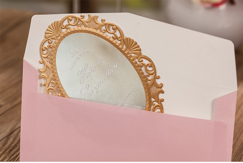 Aliexpress.com : Buy Laser Cut Wedding Invitations Pink Love Mirror  Customized Invites Cards Engagement For Marriage Gatefold Wedding Favors  CW5096 From ...