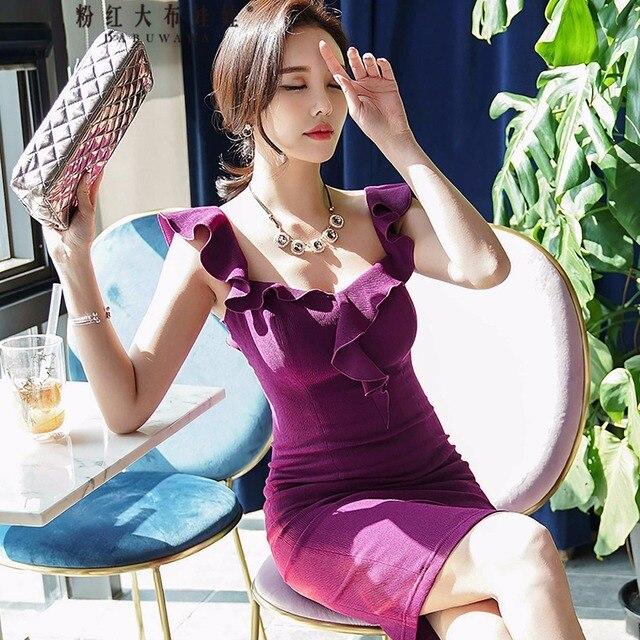 original 2018 brand vestido plus size summer sexy ruffles fashion sleeveless elegant OL sheath knitted dress women wholesale