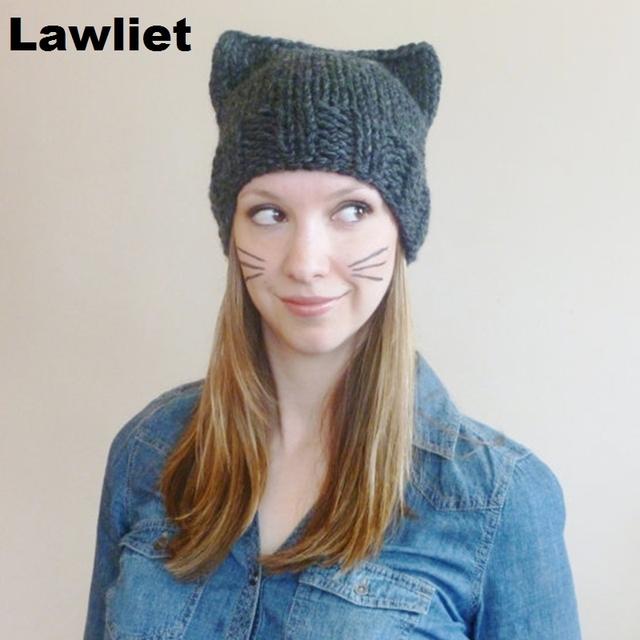 A127 Ear Bonito Do Gato Meow Kitty Mulher Unisex Lã Inverno Quente chapéus para as mulheres e Menina Mão Knit Cap Skuill e gorros chapéu