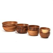 Acacia Wood Salad Bowl Round Calabash Serving / Salad Bowl Soup Bowls Hand-made Natural Wood Grain