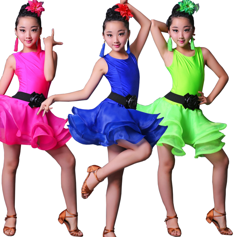 Kids Green Latin Salsa Ballroom Stage wear Dance Competition dress Costumes for Girls Dancer Stage Wear Dancing Clothes