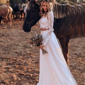 Image 5 - Vestidos de novia de encaje bohemio de dos piezas, vestidos de novia largos de manga larga, sexys vestidos de novia de campo con botones cubiertos