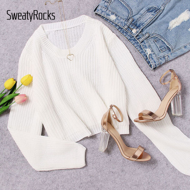 6ef95df47d0 SweatyRocks White Loose Fit Crop Jumper Sweater Women Round Neck Long Sleeve  Plain Girls Pullovers Sweater