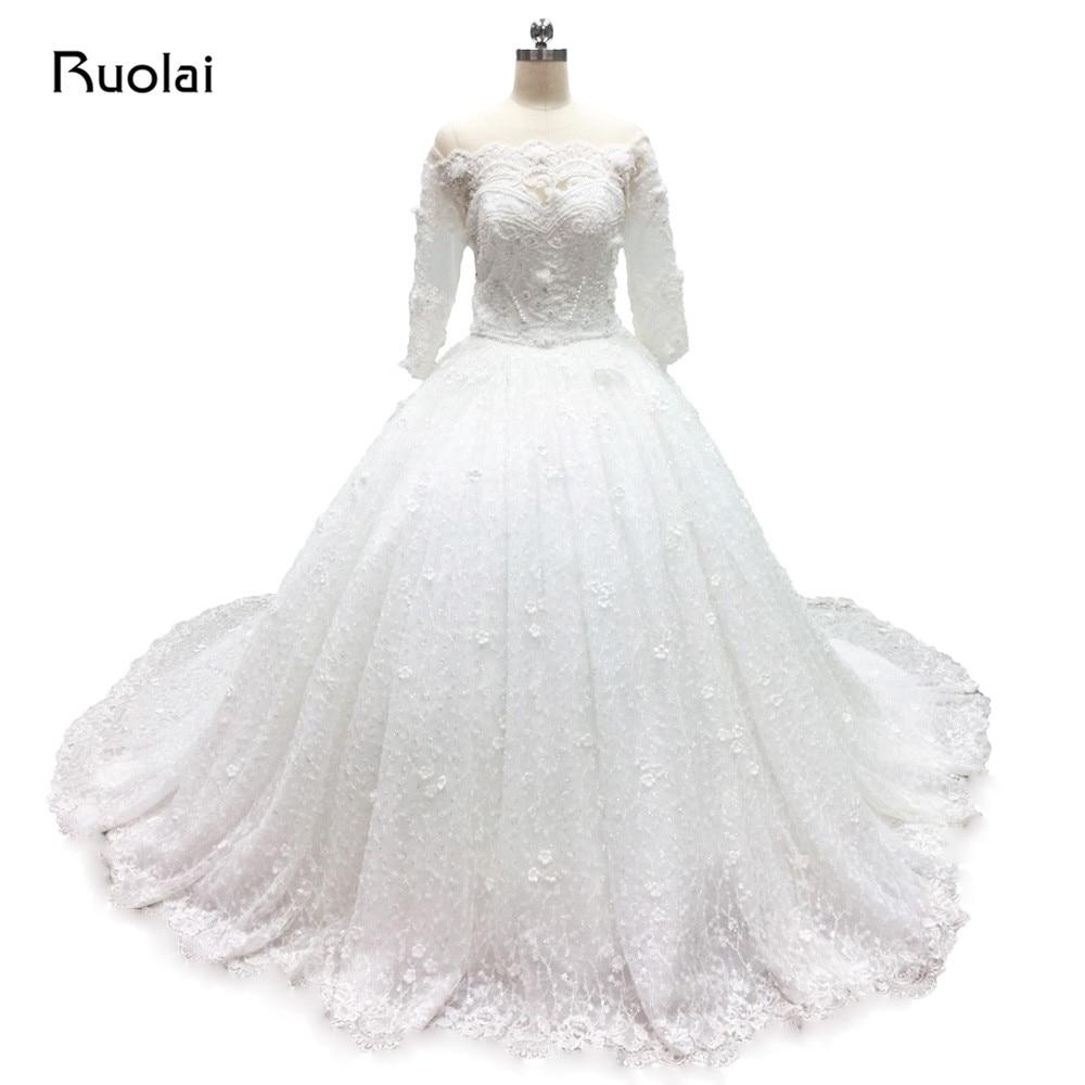be92a719f6bf Vero Made Lusso Dubai Abiti Da Sposa Manica Lunga Scoop Lace su Indietro  Principessa Ball Gown Abito Da Sposa In Pizzo Perle In Rilievo FW61 in Vero  Made ...