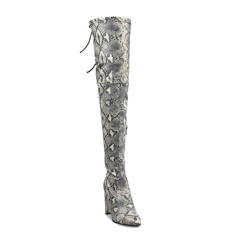Ayakk.'ten Diz Üstü Çizmeler'de Perixir Kadınlar Yılan Diz Üzerinde Yüksek Çizmeler Kış Moda PU Yüksek Topuklu Çizmeler 10 CM Sivri Burun Kare Topuk Sıcak bot Ayakkabı'da  Grup 2