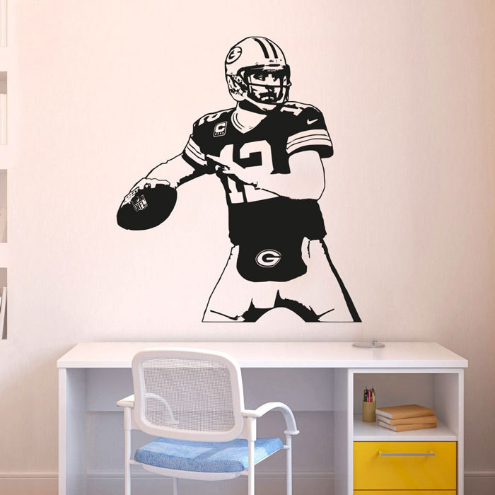 Us 19 15 26 Off Green Bay Packers Decal Aaron Rodgers Wall Art Decor Sticker Vinyl Poster Mural Removable Home In Stickers