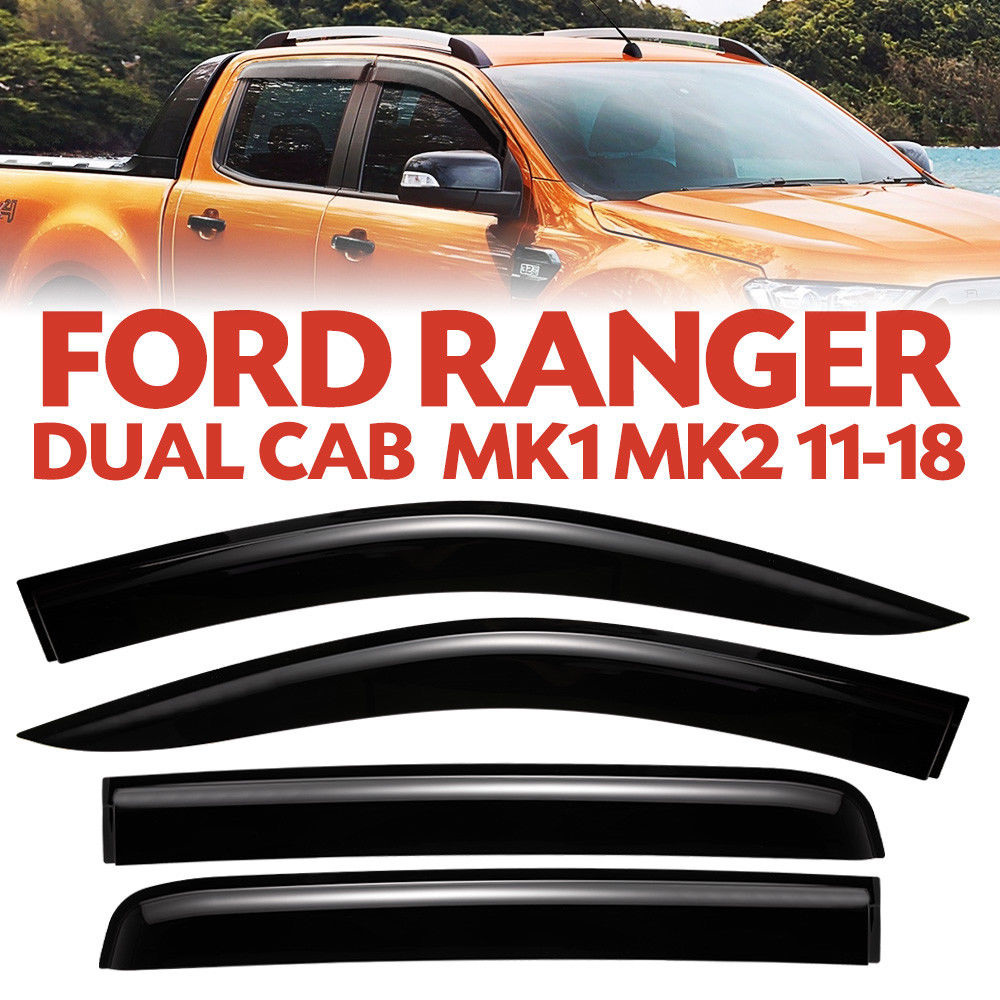 4 PCS Weather Shield Window Visor for Ford Ranger MK1 MK2 11 18 Double Cab Wildtrack   Thickness Flexible Rain proof Shiny|Awnings & Shelters| |  - title=