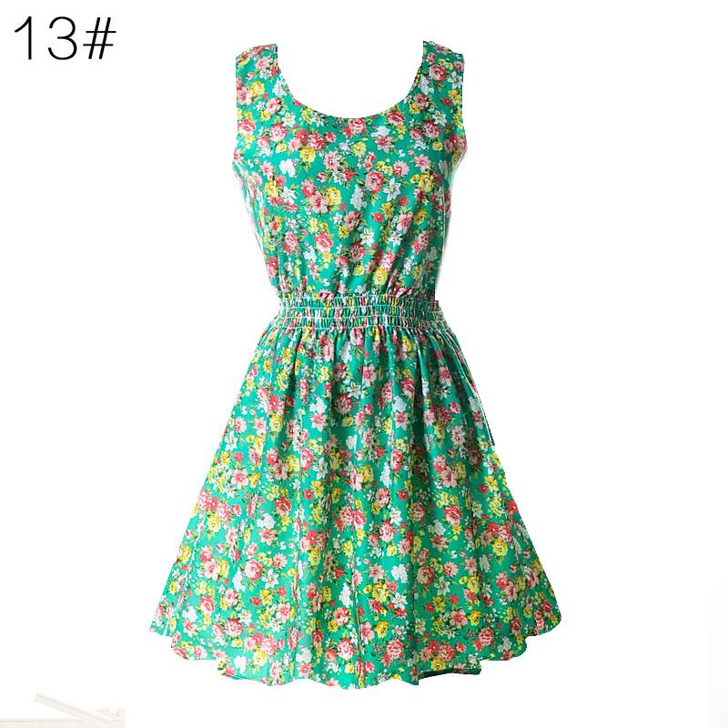 Sexy kobiety chiffon dress sundress plaża floral bez rękawów tank mini sukienki vestido 15