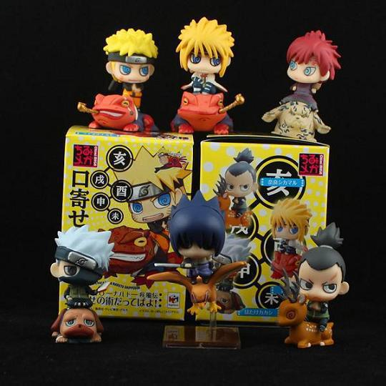 6pcs/Set PVC 6cm Anime Naruto Gaara Sasuke Action Figures Children Toys Collection Naruto Model with Animal Kids Brinquedos 18cm 4pcs set teenage mutant ninja turtles anime action figures pvc brinquedos collection figures toys anno00753t