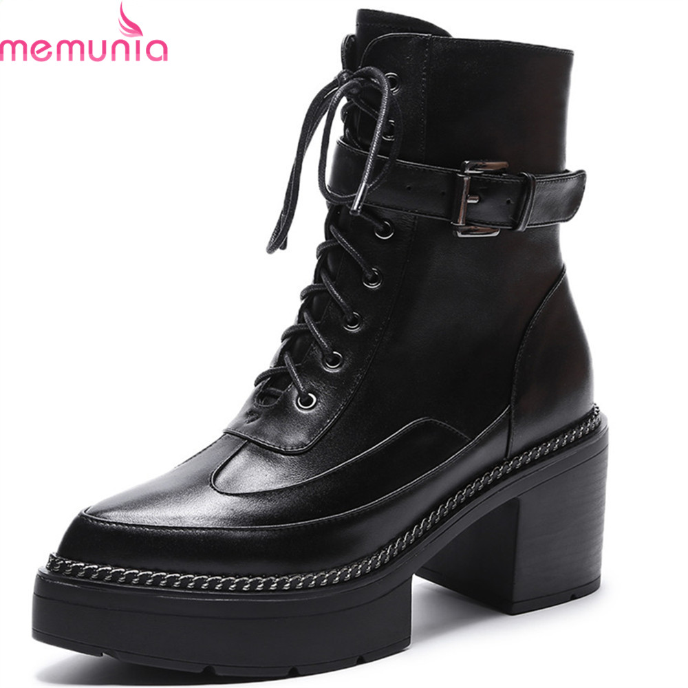 MEMUNIA black army green women boots fashion pointed toe zipper genuine leather ladies boots square heel cow leather platform memunia fashion women boots round toe ladies genuine leather boots square heel zipper cow leather wool keep warm mid calf boots