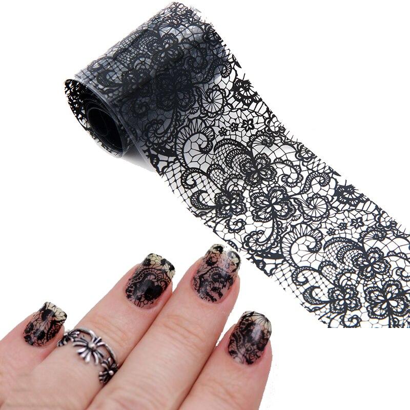 Black Lace Flowers Nail Art Transfer Foils Adhesive