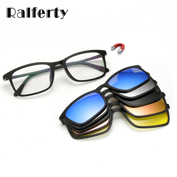Ralferty Polarized Sunglasses Men Women 5 In 1 Magnetic Clip On Glasses TR90 Optical Prescription Eyewear Frames Eyeglass 8803 1