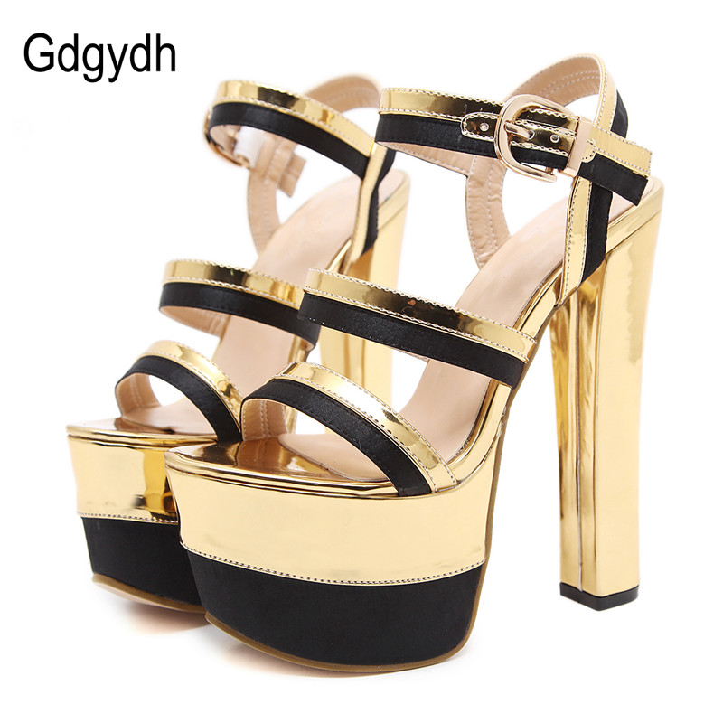 Gdgydh Summer Sexy Sandal High Heels Women Shoes Mixed Colors Gold Females Party Shoes Platform Ankle Strap Wedding Dress 2018 цены онлайн