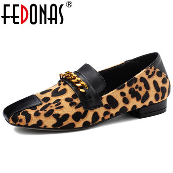 FEDONAS 2019 Spring Summer New Fashion Sexy Leopard Print Horsehair Women Pumps Low Heels Shallow Slip on Single Shoes Woman