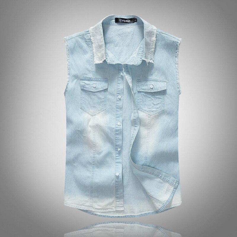 Solid Color Denim   Tank     Tops   Men Jeans Vest Casual Hip Hop Slim Fit   Tank   Thin Style 2018 Fashion Streetwear Clothes for Men S0478