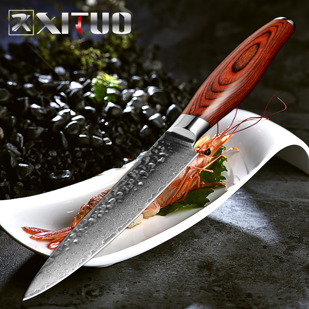 XITUO 2017 Hot sale 5.5 inch Damascus Chef knife Sharp Blade fruit Knife Handmade Forged VG10 Steel Kitchen