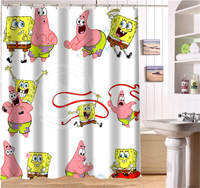 WJY425Y14 Custom SpongeBob Movie Fabric Modern Shower Curtain Bathroom Waterproof XY14