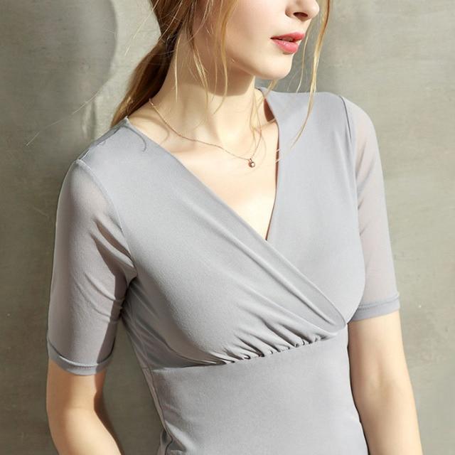 Camisa das senhoras Curta-mangas compridas Apertadas Sexy Com Decote Em V Padrão De Costura Corte Modelo De desenho Roupas DIY WW-W992