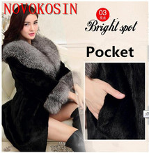 SC301 S-4XL Plus Size Thick Long Faux Mink Fur Winter Warm Coat With Pocket 2019 Women Otter Neck And Sleeves Cardigan