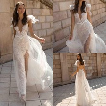648443e77f16 2019 New Boho Wedding Dresses V Neck Lace Backless Bridal Gowns High Slit  See Through Customized