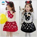 2017 2 to 6 years old baby girls clothing sets cartoon princess dress bowknot children's clothes high quality kids skirt